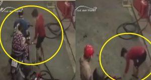 Clip người phụ nữ vứt tiền xuống đường trả tiền xăng gây phản cảm