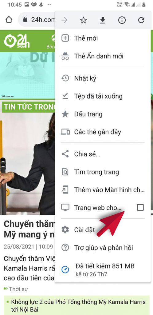 mở trình duyệt web trên máy tính bằng điện thoại